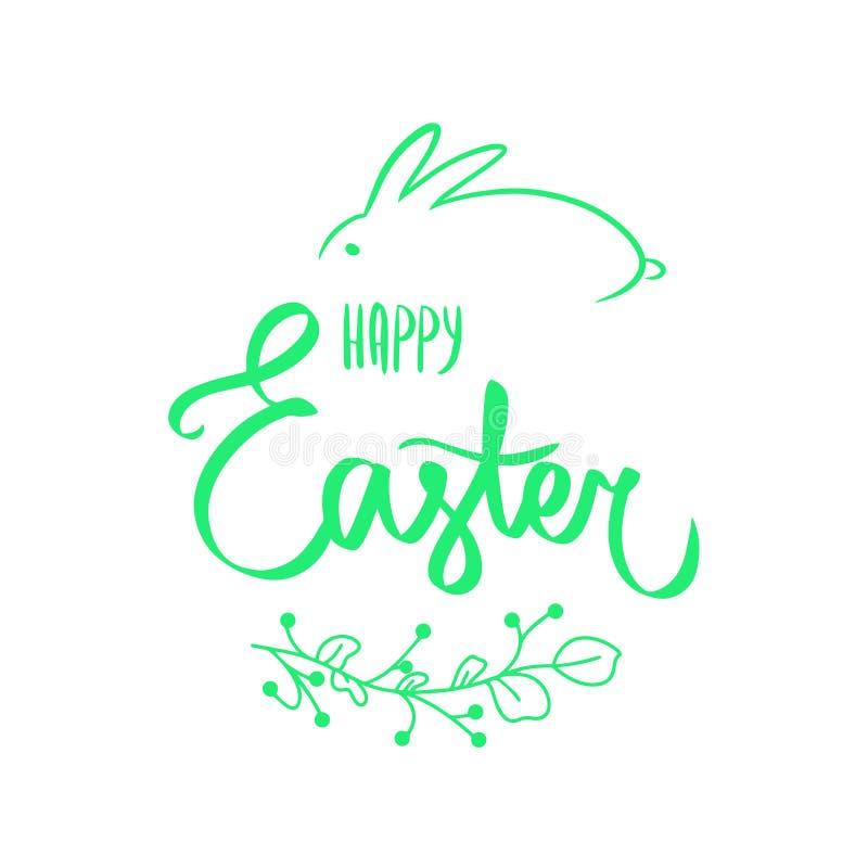 Moderne groene bloemkaart met zoet Gelukkig Pasen-teken in groene kleur met bloemenkader, groen konijntje Bloem groene grens, kon stock illustratie