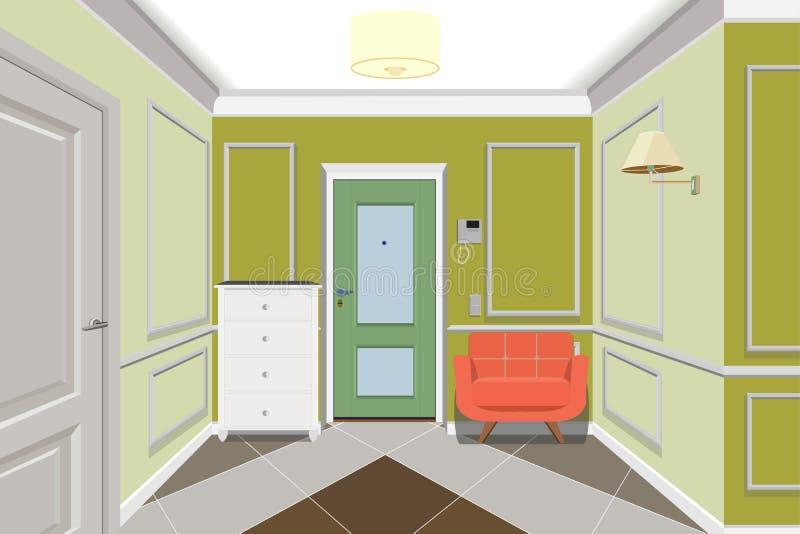 Moderne groene gang met deur Opmaker en bank dichtbij muur 3d geef terug Gangillustratie stock illustratie