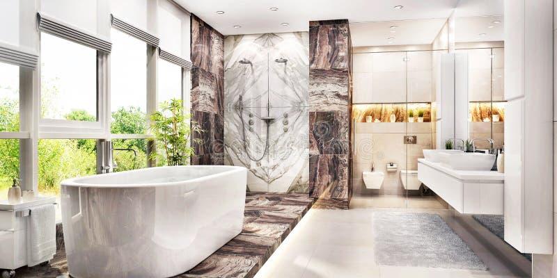 Moderne grote badkamers met groot venster stock afbeelding