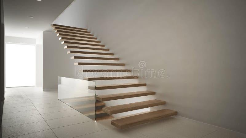 Moderne hal met houten trap minimalistisch wit int stock for Moderne houten trap