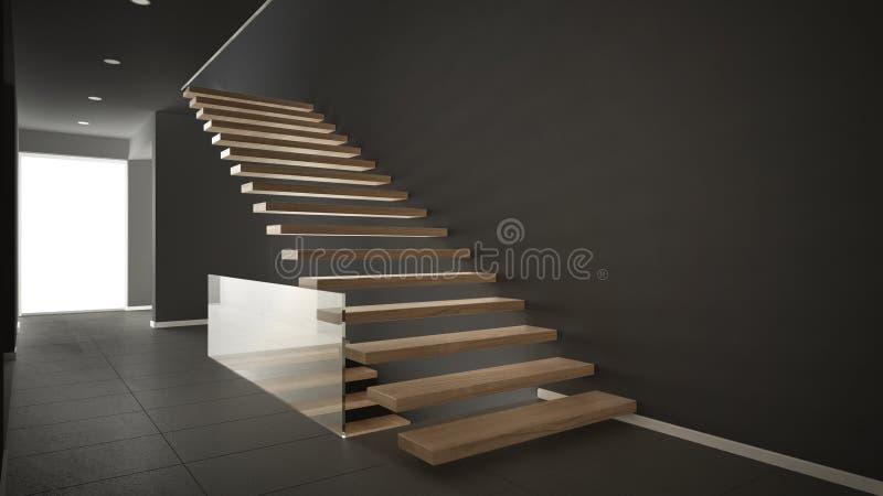 Moderne hal met houten trap minimalistische grijze inte for Moderne houten trap