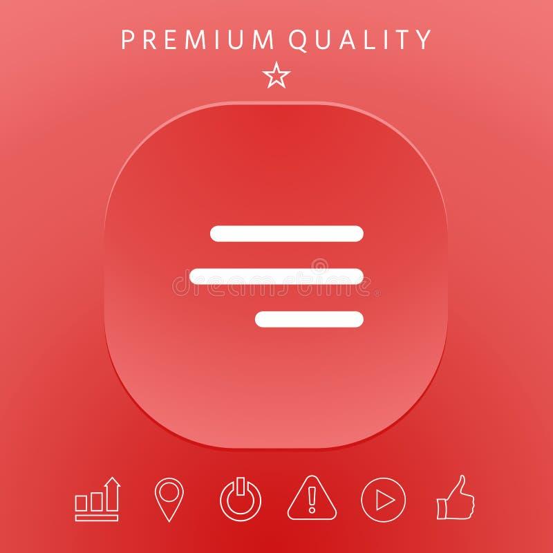 Moderne Hamburgermenüikone für bewegliche apps und Website stock abbildung