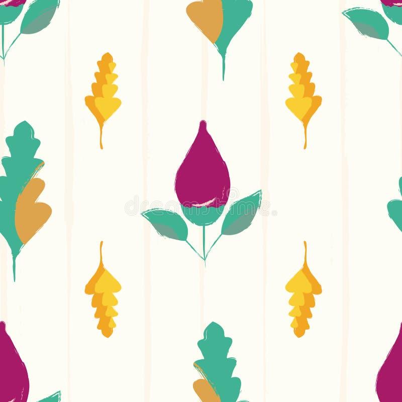 Moderne hand getrokken purpere bloemknoppen en veelkleurige bladeren Naadloos vectorpatroon op subtiele grunge gestreepte achterg stock illustratie