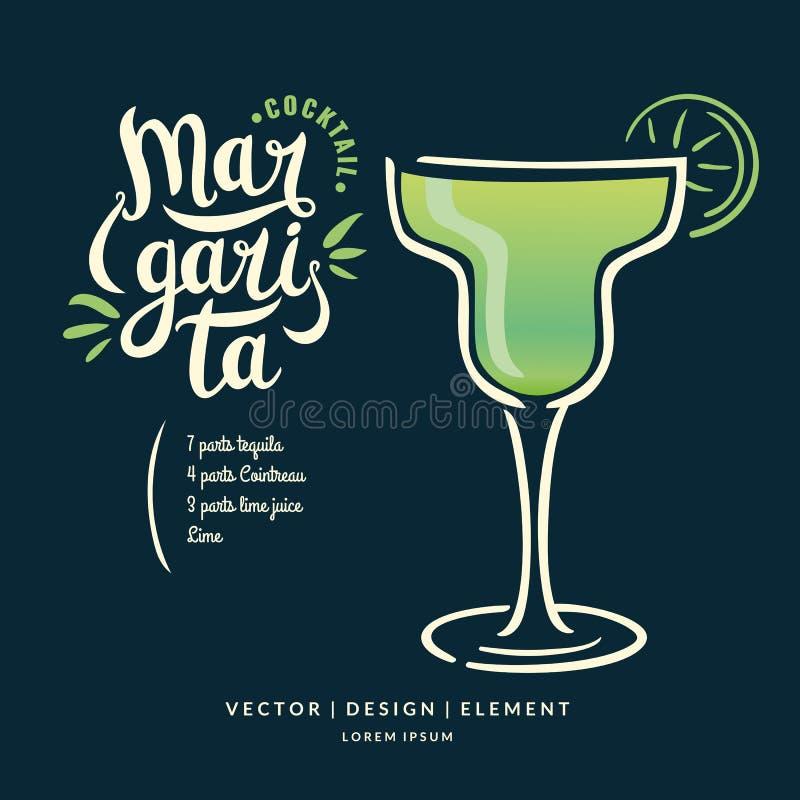 Moderne Hand gezeichneter Beschriftungsaufkleber für Alkoholcocktail Margarita vektor abbildung