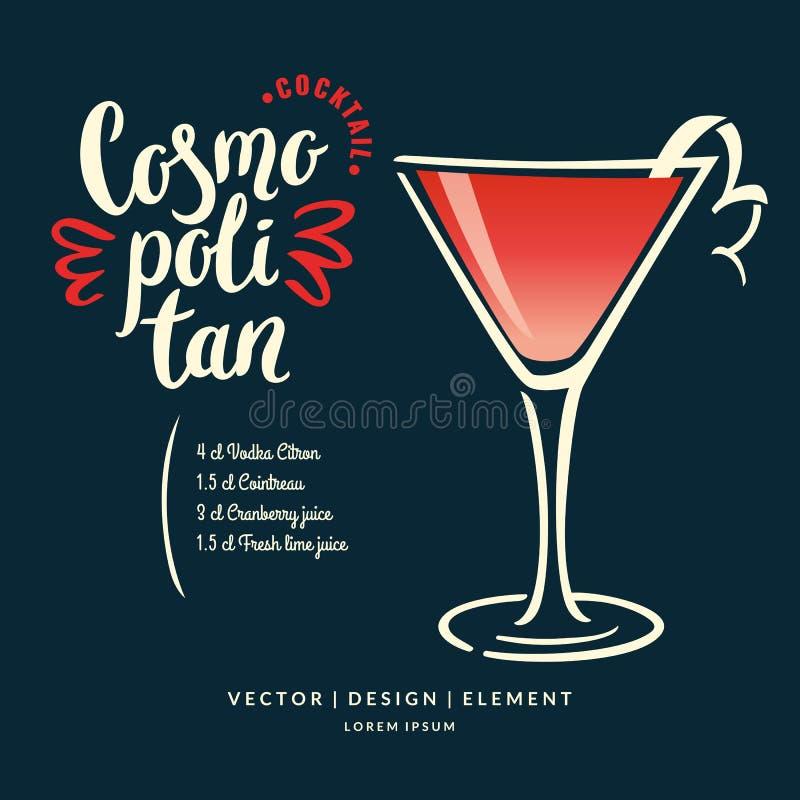 Moderne Hand gezeichneter Beschriftungsaufkleber für Alkoholcocktail Margarita stock abbildung