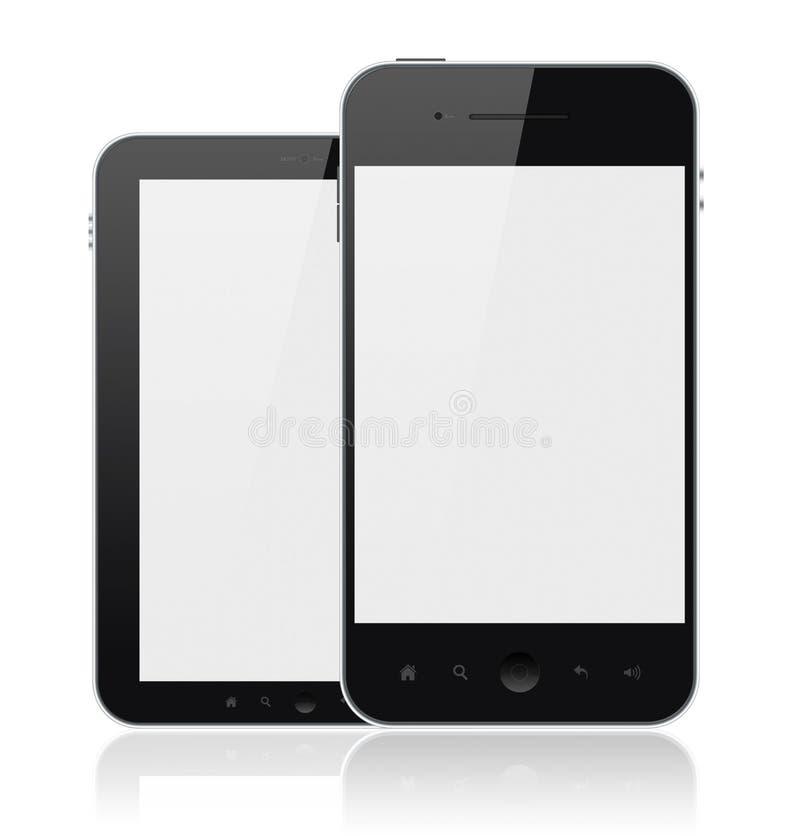 Moderne Handys mit dem unbelegten Bildschirm getrennt lizenzfreie abbildung