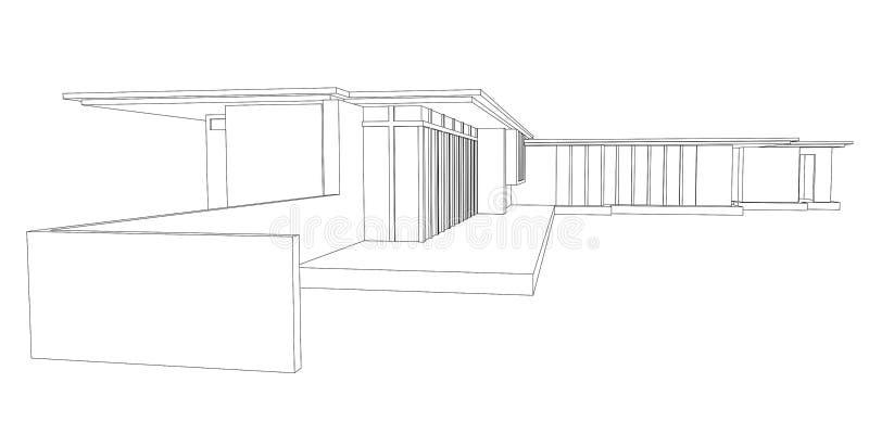 moderne haus perspektive zeichnung vektor abbildung. Black Bedroom Furniture Sets. Home Design Ideas