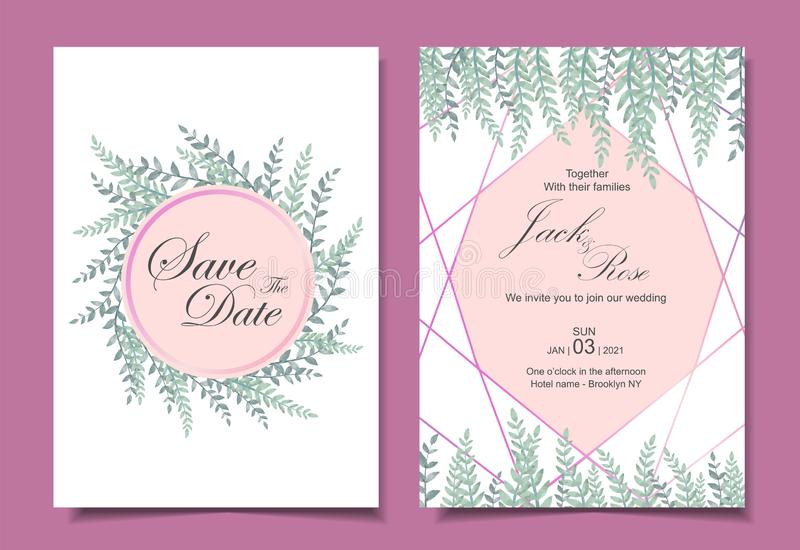 Moderne Heiratsverschiedene Karten der einladungs-Karten-Schablonen-2 Aquarell verl?sst mit goldener geometrischer Form Sparen Si vektor abbildung
