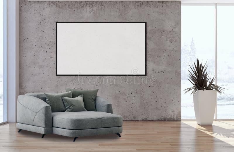 Moderne heldere binnenlandflat met spot op illu van het affichekader royalty-vrije illustratie