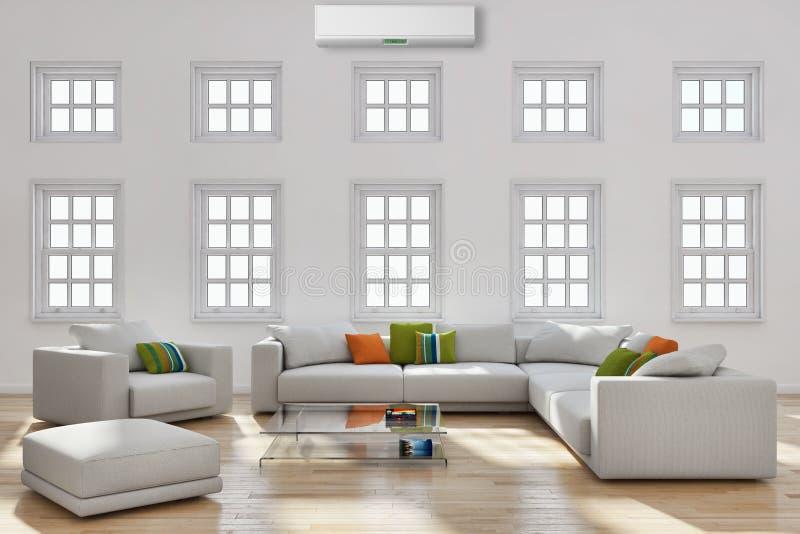 moderne heldere binnenlandwoonkamer met airconditioning illust royalty-vrije stock fotografie