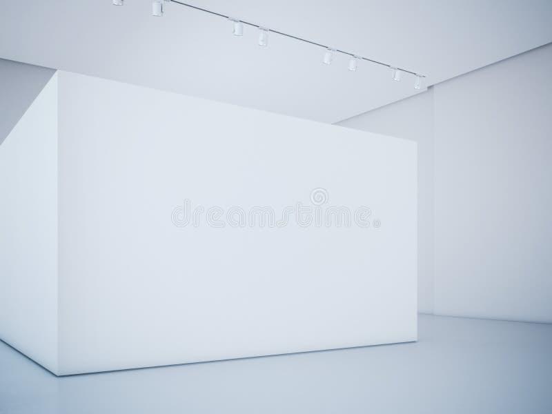 Moderne helle Galerie mit weißer Wand Wiedergabe 3d stockfoto