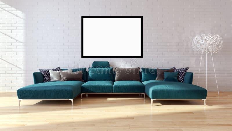 Moderne helle Innenraumwohnung mit Modellplakatrahmen 3D bezüglich vektor abbildung