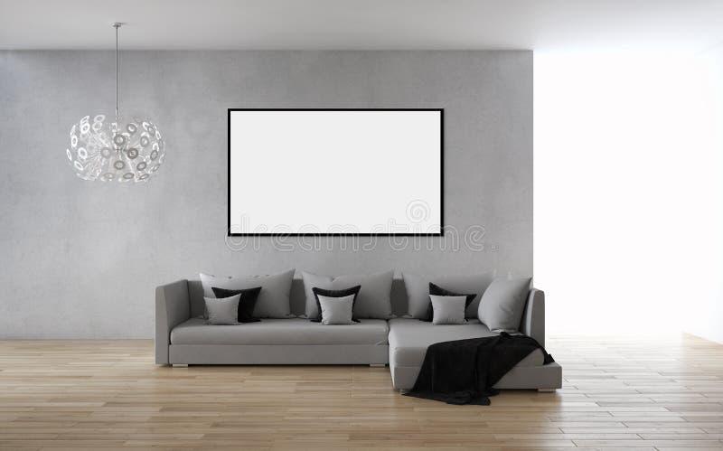 Moderne helle Innenraumwohnung mit Modellplakatrahmen 3D bezüglich stock abbildung