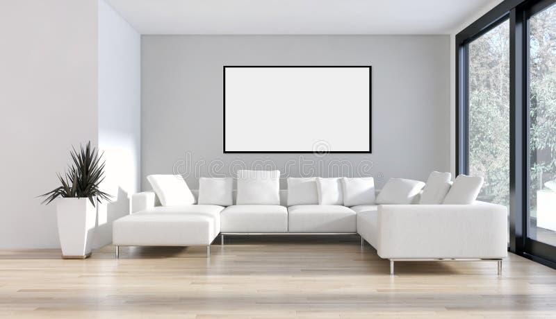 Moderne helle Innenraumwohnung mit Modellplakatrahmen 3D bezüglich lizenzfreie abbildung