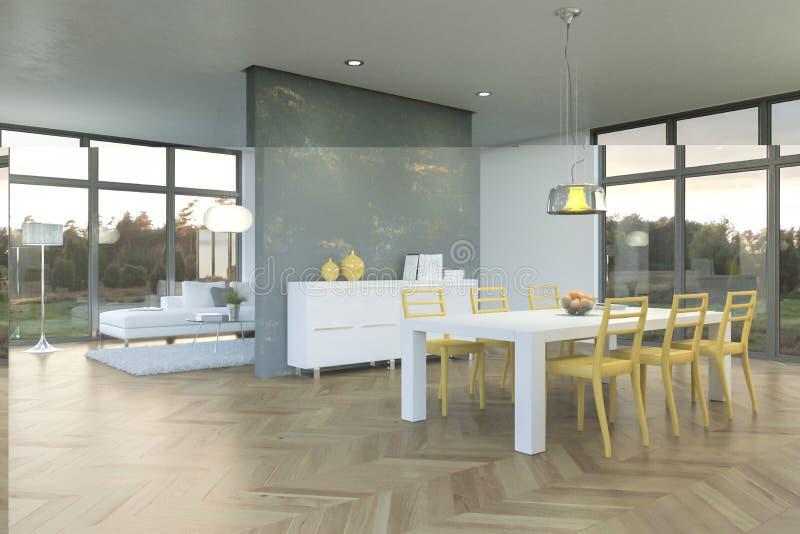 Moderne helle skandinavian Innenarchitektur des Esszimmers stockbild