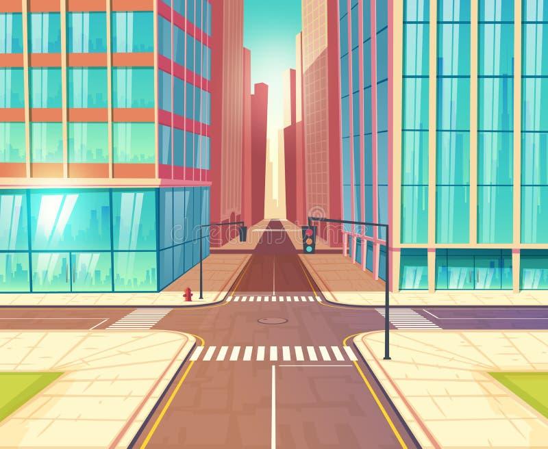 Moderne het beeldverhaalvector van stads lege kruispunten vector illustratie