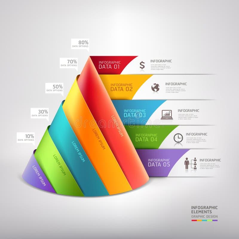Moderne het diagramzaken van de kegel 3d trap. royalty-vrije illustratie
