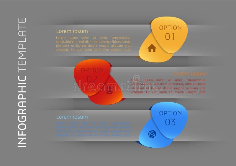 Moderne het malplaatjevector van infographicsopties met kleurrijke vleugels stock illustratie