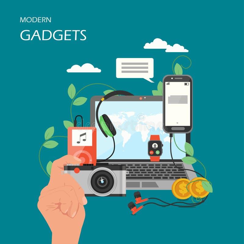 Moderne het ontwerpillustratie van de gadgets vector vlakke stijl royalty-vrije illustratie