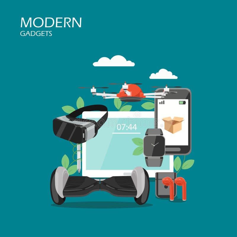 Moderne het ontwerpillustratie van de gadgets vector vlakke stijl vector illustratie