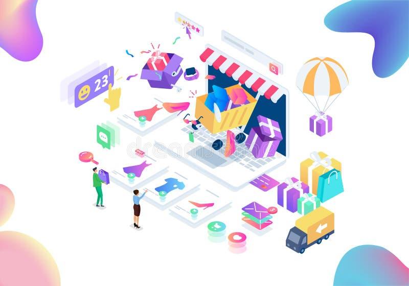 Moderne het winkelen isometrische vectorillustratie stock illustratie