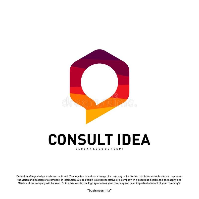 Moderne Hexagon-Betriebsberatungs-Agenturlogo-Entwurfsschablone Einfache Digital konsultieren Logokonzept lizenzfreie abbildung