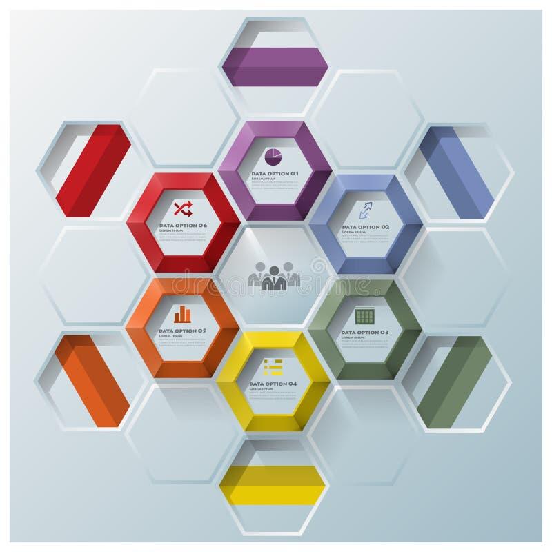 Moderne Hexagon Geometrische Vormzaken Infographic royalty-vrije illustratie