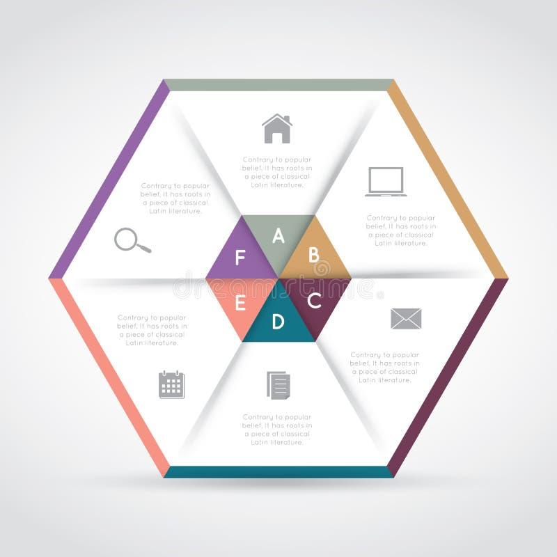 Moderne hexagon infographics royalty-vrije illustratie
