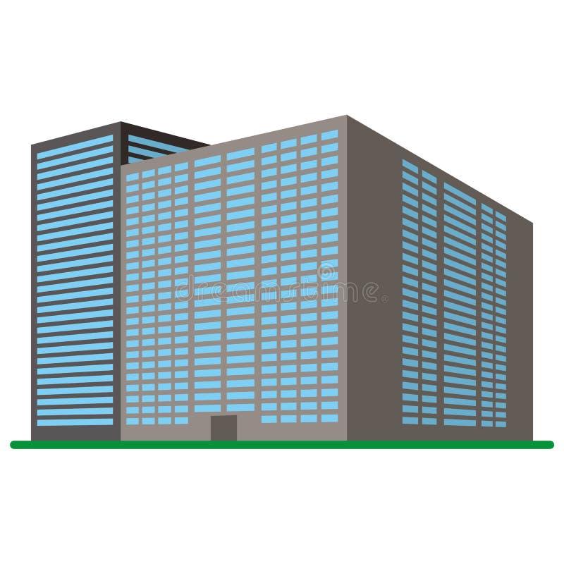 Moderne high-rise die op een witte achtergrond voortbouwen Mening van het gebouw van de bodem vector illustratie