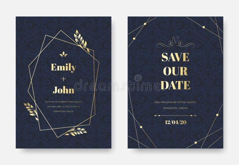 Moderne Hochzeitseinladung Elegant laden Sie Karte ein, verzieren Weinlesedamast-Blumenzweige Muster- und Prämienaufkleberrahmen vektor abbildung