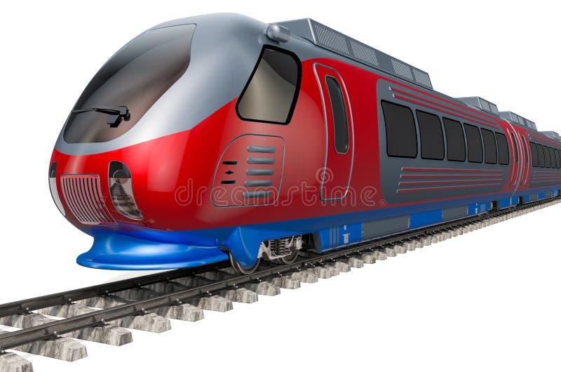 Moderne hoge snelheidstrein op de sporen het 3d teruggeven vector illustratie