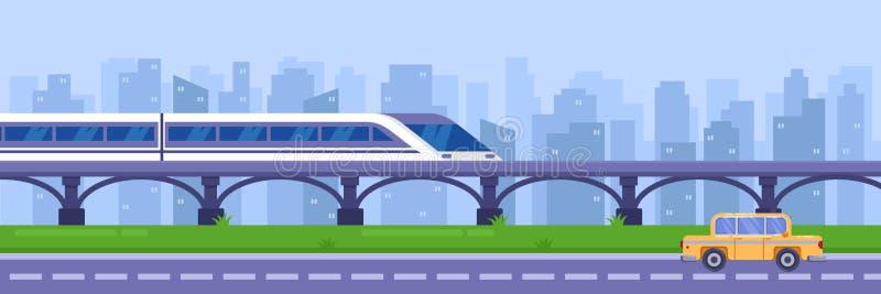 Moderne hoge snelheidstrein op spoorwegbrug Het openbare vervoer van de spoorwegpassagier, vectorillustratie stock illustratie