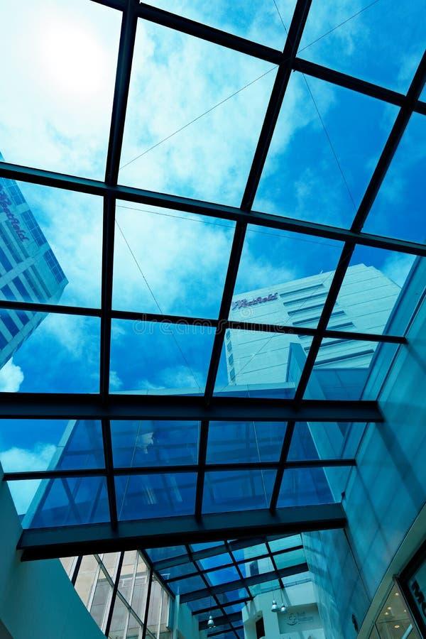 Moderne Hoge Stijgings Commerciële Gebouwen, Mening door Glasplafond royalty-vrije stock foto's