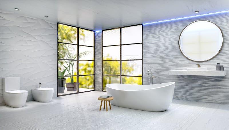 Moderne hoge zeer belangrijke 3D geeft badkamers met rond gemaakte badton terug royalty-vrije stock afbeeldingen