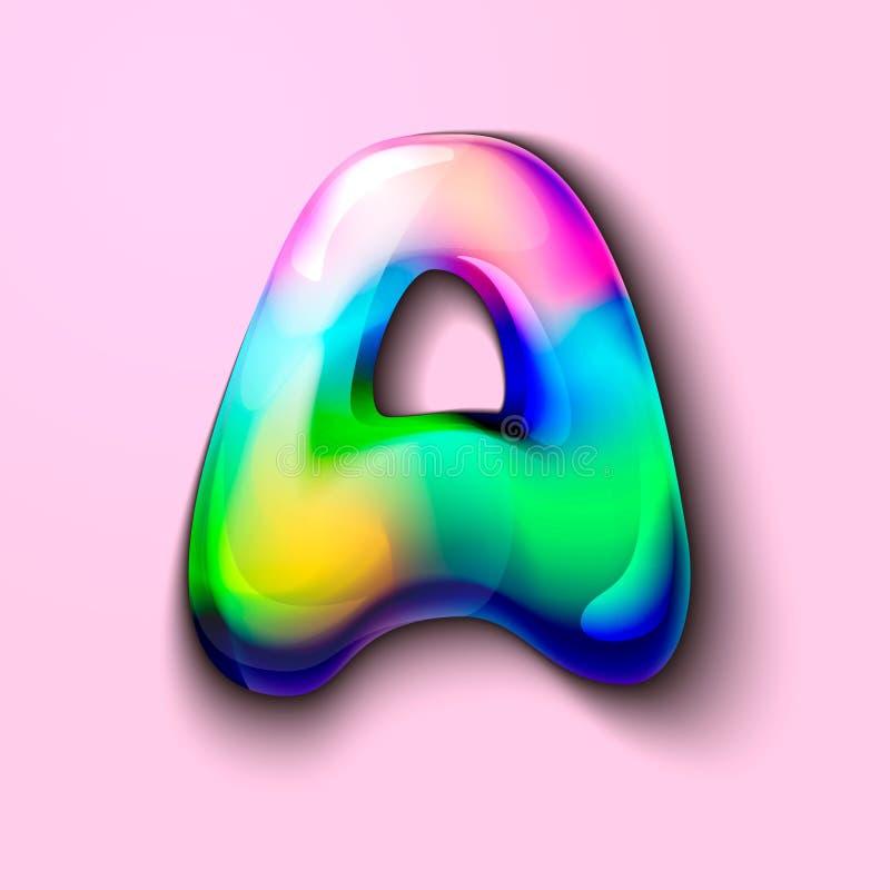 Moderne holografische brief A Gelatineachtige brief van het alfabet 3d brievenlolly Volumetrische brief met waterverfscheiding Ee vector illustratie