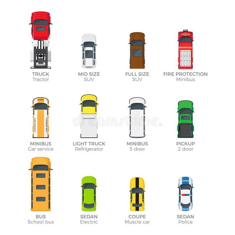 Moderne Hoogste Geplaatste de Menings Vectorpictogrammen van het Voertuigvervoer vector illustratie