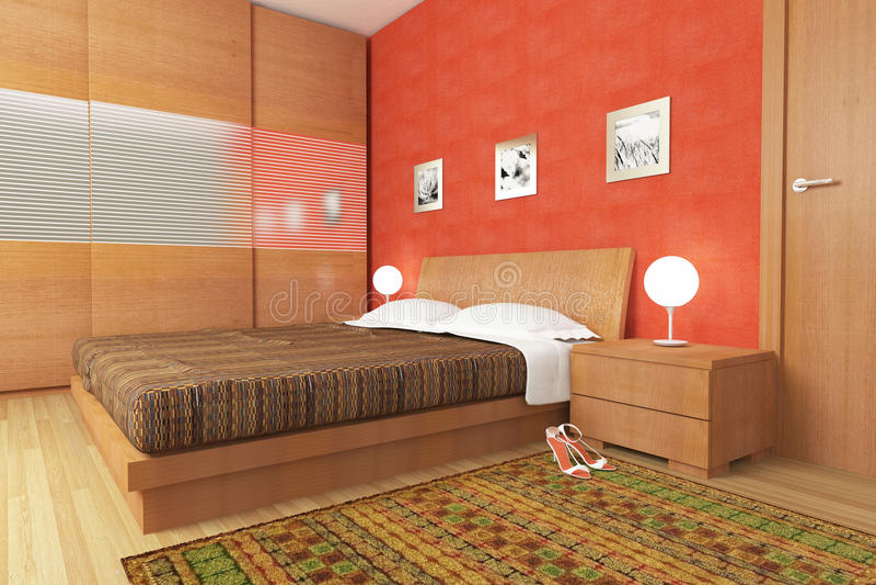 Moderne houten slaapkamer vector illustratie