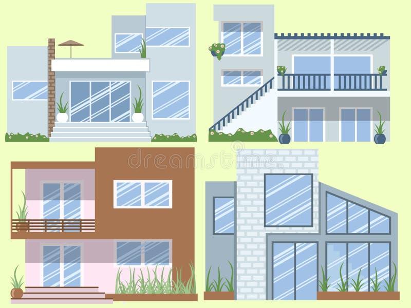 Moderne huizeninzameling royalty-vrije illustratie