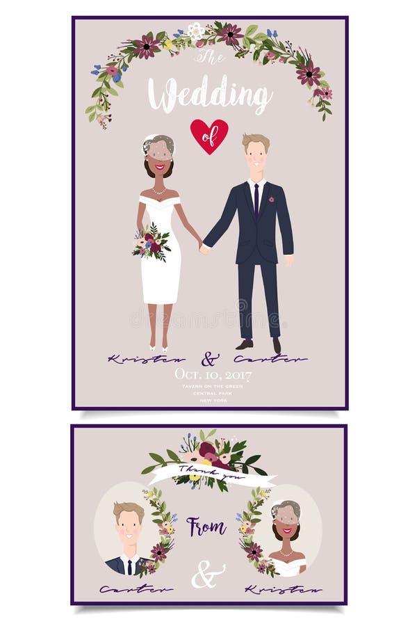 Moderne huwelijksillustratie van gemengd huwelijk De gelukkige handen van de paarholding royalty-vrije stock fotografie
