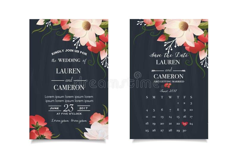 Moderne huwelijksuitnodiging met kalenderontwerper en aangepaste huwelijksdag vector illustratie