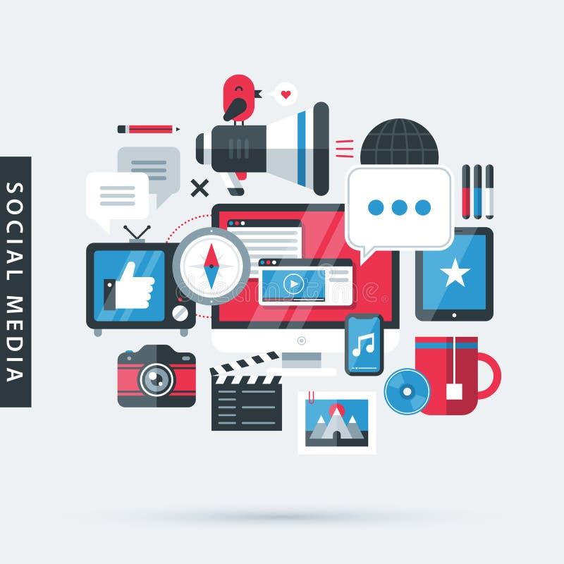 Moderne illustratie over sociale media in vlakke ontwerpstijl bureaucomputer, TV, telefoon, camera, tablet enz. stock illustratie