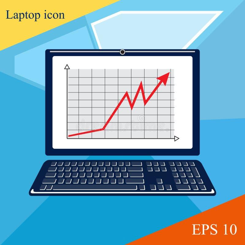 Moderne Illustration des Laptops Websiteseite stockbilder