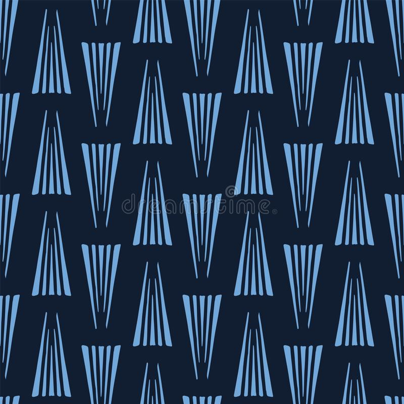 Moderne indigo blauwe geometrische hand getrokken driehoeken Het herhalen van abstracte achtergrond Sier zwart-wit geo trendy vector illustratie