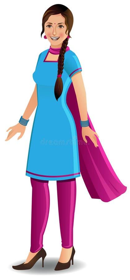 Moderne Indische vrouw in Salwar Kameez royalty-vrije illustratie