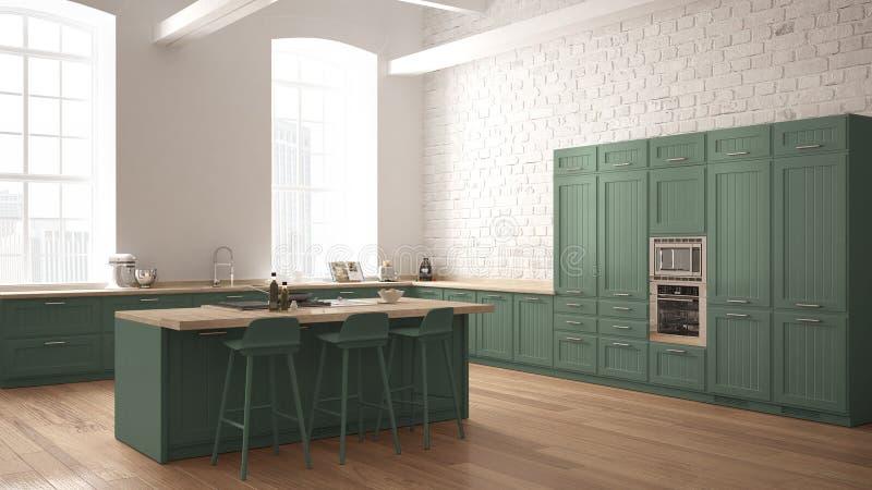 Moderne industriële houten keuken met houten details en panoramisch venster, wit en grijs minimalistic binnenlands ontwerp, p van stock illustratie