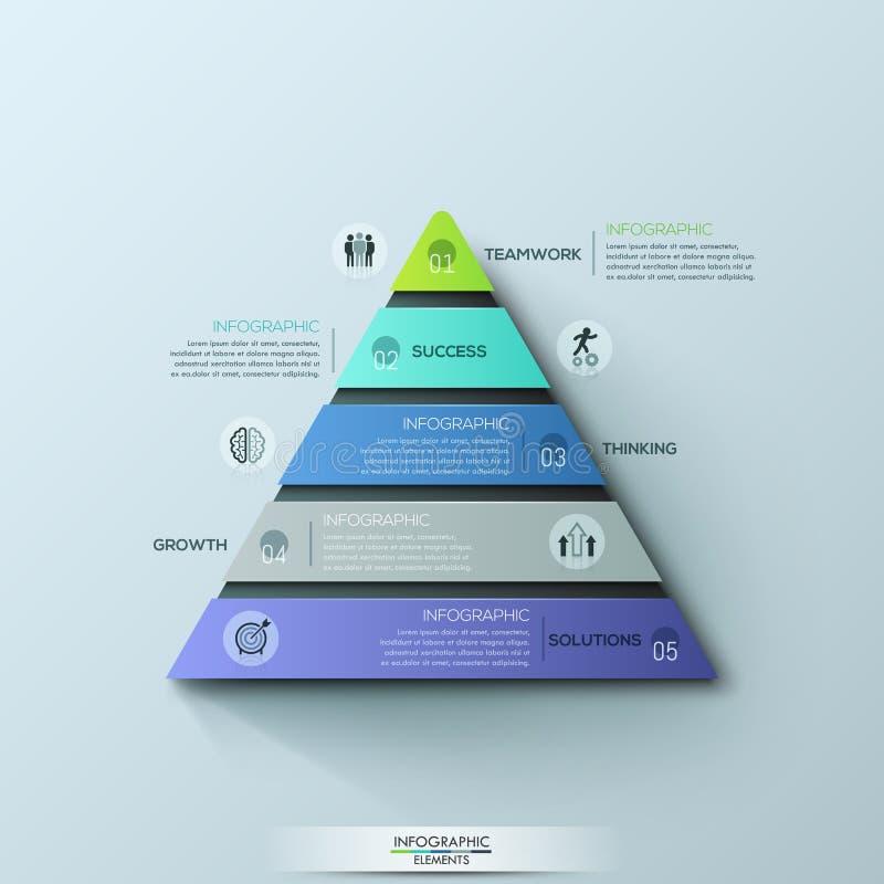 Moderne infographic Designschablone, dreieckiges Diagramm mit 5 nummerierte Schichten oder Niveaus lizenzfreie abbildung