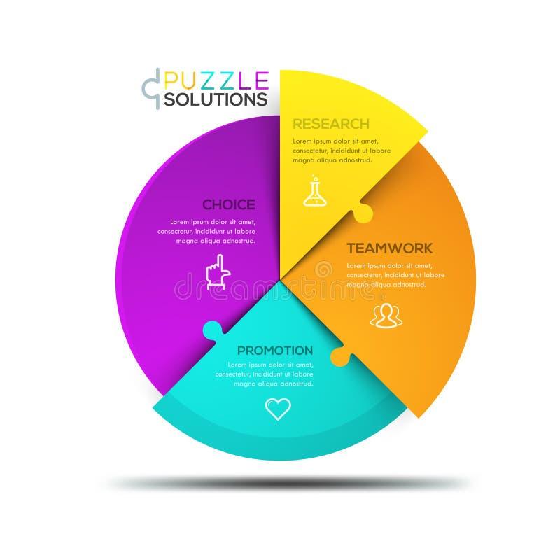 Moderne infographic Designschablone, kreisförmiges Puzzle geteilt stock abbildung