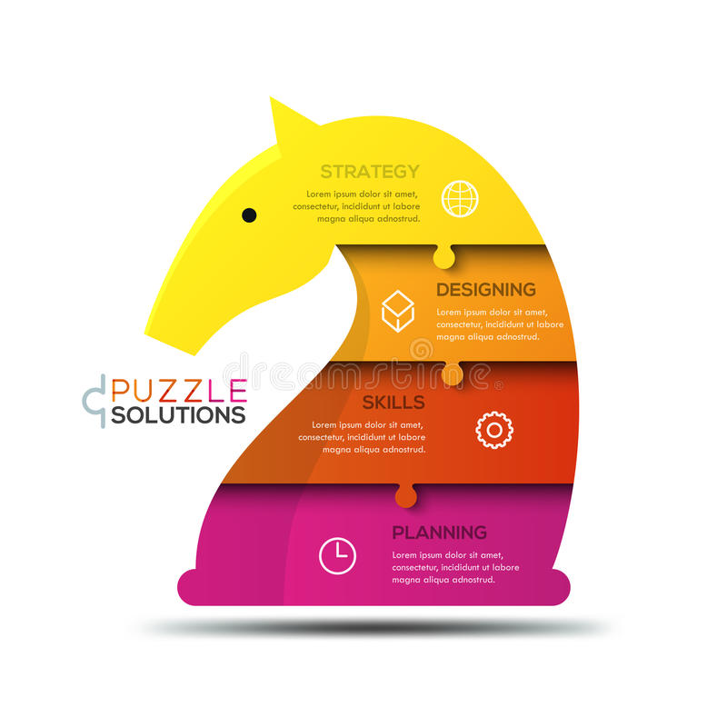 Moderne infographic Designschablone, Puzzle in Form der Ritterschachfigur lizenzfreie abbildung