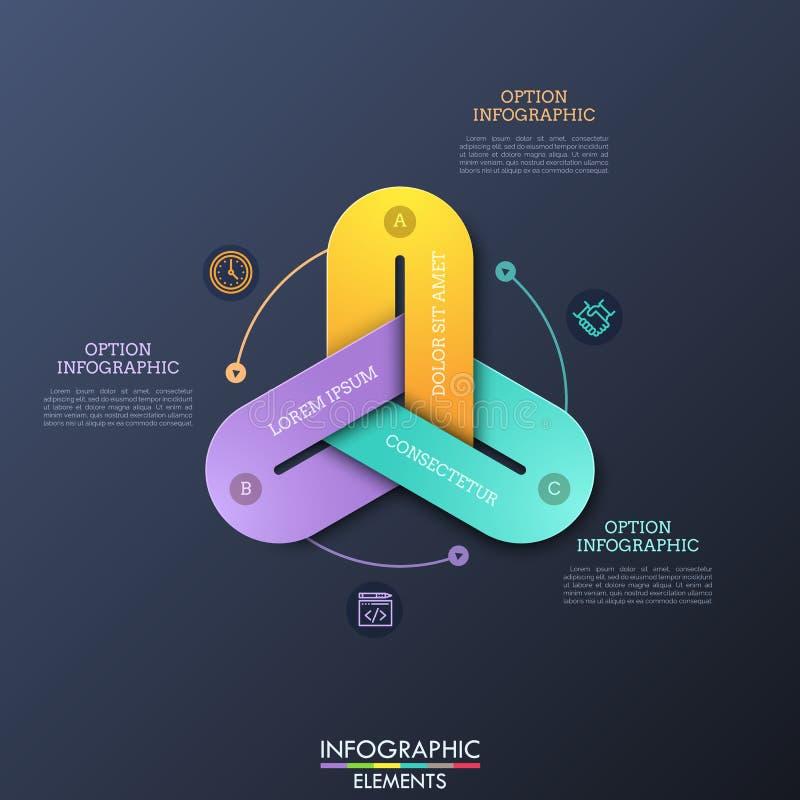 Moderne infographic Designschablonen mit 3 bunten Kettengliedern schlossen zusammen, dünne Linie Piktogramme und Textboxen an vektor abbildung