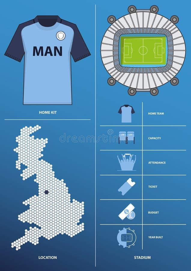 Moderne infographic für Fußballverein im flachen Design schließen Karte, Stadion, Trikot, Ausrüstung mit ein Vektor vektor abbildung